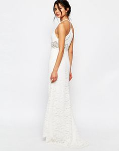 Image 2 of Jarlo Petite Allover Lace Halter Neck Maxi Dress With Lace Waist Insert
