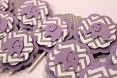 Lavender Purple Elephant and Gray Chevron stripe Polka Dot cupcake toppers baby shower its a girl Elephant birthday Party- minus the elephants Baby Shower Purple, Baby Shower Niño, Baby Shower Themes, Baby Shower Decorations, Baby Shower Gifts, Shower Ideas, Purple Baby, Girl Shower, Elephant Party