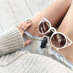 white cat-eye sunglasses #quay