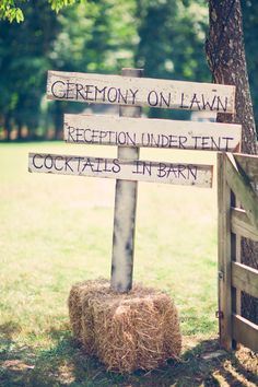 Outdoor wedding directory sign ... ceremony on lawn, reception under tent, cocktails in barn.