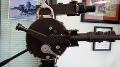 "Side view of an Akeley 35mm motion picture camera used by the U.S. Army Air Force during WWII referred to as the ""Camera Aircraft Type A-1B"". During the World War I the Akeley was invented by Carl Akeley in 1917."