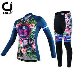 HOT CHEJI Women Bike Jersey  Pants Sets Deep Blue Riding Fall Girl MTB Cycling Clothing Suits Team Pro Bicycle Long Sleeve #Affiliate