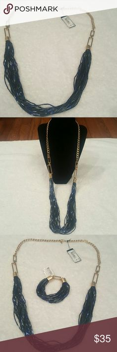 Kenneth Cole Blue/Gold  Necklace .... Kenneth Cole Jewelry Necklaces