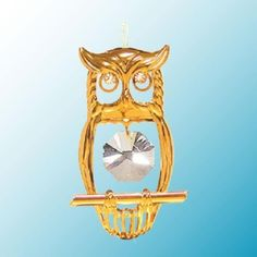 24K Gold Plated Hanging Sun Catcher or Ornament..... Owl with Clear Swarovski Austrian Crystal Crystal Delight by Mascot http://www.amazon.com/dp/B009BW59W2/ref=cm_sw_r_pi_dp_qaMNtb1967WWHNPD