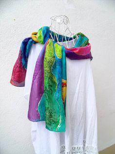 """Réservée jusqu'au 6 juin, Etole en soie peinte à la main """"Après l'averse """" : Echarpe, foulard, cravate par lessoiesdesophie"""