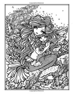 Mermaid Blank Coloring Pages, Mermaid Coloring Pages, Printable Adult Coloring Pages, Cool Coloring Pages, Colouring Pics, Mandala Coloring, Coloring Books, Coloring Stuff, Coloring Sheets