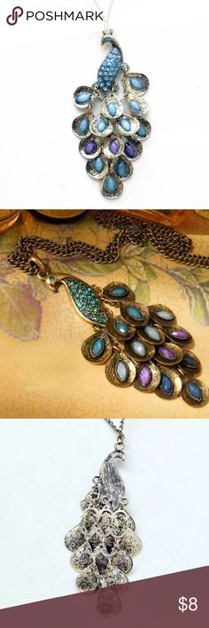 Peacock necklace Peacock necklace.  New in packaging.  Vintage gold colors.  Blue and purple beads on the peacock.  Looks to slip over the head to be worn.  Neck hole drop measures 13 1/2 inches.  Peacock measures 3 1/2 inches.    NO TRADES, OFFERS OR MODELING!!! Jewelry Necklaces