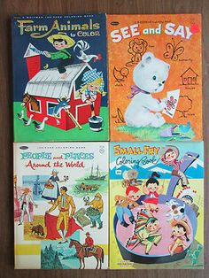 Lot of 4 vintage Whitman or Bonnie coloring books 1950s - 1960s (3 uncolored)!
