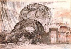 'La ciudad de Dite y el Ángel atravesando la Laguna Estigia', Oil by William Blake (1757-1827, United Kingdom)