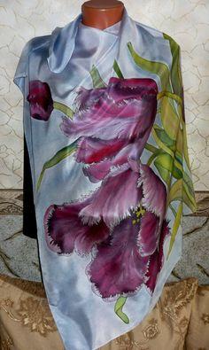 Batik, handkerchief made of silk fabric with a patte Marimekko Fabric, Silk Art, Painted Clothes, Silk Dupatta, Silk Shawl, Pink Tulips, Chiffon Scarf, Fabric Painting, Silk Scarves