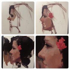 Progress shots of an alla prima sketch from November.