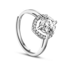 Classic 925 Sterling Silver Finger Ring, with Micro Pave AAA Zircon Heart, Platinum; Size:about 17mm  inner diameter(Adjustable); Heart:about 7mm in diameter.<br/>Priced per 1