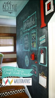 Wallternatives vintage frames wall decals on accent chalkboard wall - Decorated by Robb Restyle
