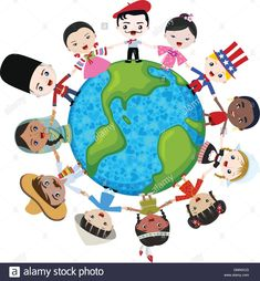 multicultural children on planet earth, cultural diversity Illustration Education College, Elementary Education, Cultural Diversity, Education English, Teaching English, Kids Hands, Cool Countries, Educational Technology, Planets