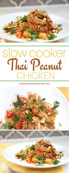 Slow Cooker Thai Peanut Chicken Recipe is one the whole family will love and is perfect for busy weeknight dinners or weekend dinners when you don't want to cook. This healthy, crockpot recipe is something kids will eat without a fuss too if they like peanut butter.