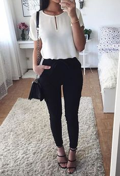 Simple black and white outfit idea | top + skinnies