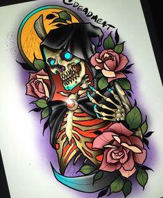 Sketch Tattoo Design, Tattoo Sketches, Tattoo Drawings, Tattoo Designs, Skull Tattoos, Body Art Tattoos, Sleeve Tattoos, Desenho New School, Reaper Tattoo