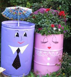 handmade garden decorations recycling metal barrels and tin cans