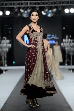 Dusty green paired with plumish-maroon is glorious - pfdc fasion week 2012