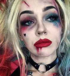 Einfaches Halloween-Make-up - Harley Quinn, Suicide Squad-CosmopolitanUK Makeup - makeup products - Helloween Make Up, Helloween Party, Cute Halloween Makeup, Halloween Kostüm, Halloween Season, Epic Halloween Costumes, Halloween Eyeshadow, Harley Quinn Halloween Costume, Scarecrow Makeup
