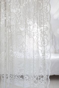 Lennol | BLACKBIRD Lace curtain, White Lace Curtains, Blackbird, Feminine, Make It Yourself, Shower, Prints, Beautiful, Home Decor, Women's