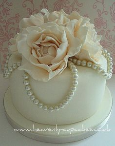 Vintage Pearl  Rose Wedding Cake- Stubton Hall Nottingham by Heavenly-Cupcakes, via Flickr