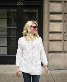 Cozy winter sweater via @101thingsilove. Gold bib necklace from t+j Designs.