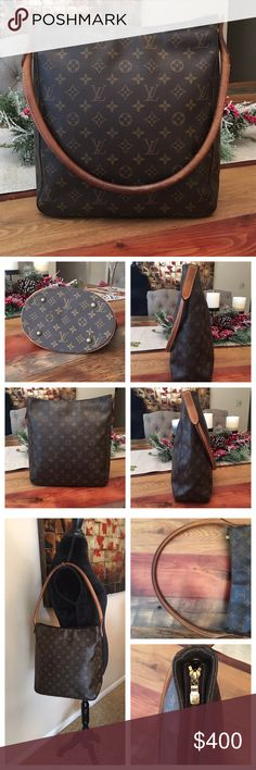 """Authentic Louis Vuitton Looping GM 100% Authentic LOUIS Vuitton Looping GM. The big size.  Monogram canvas in good condition, no scratches or tears.  Great size to fit everything plus some. Zipper on top and comfortable for traveling.  There's dark patina on strap, scratches and stains, but no cracks.  Inside there is some wear.  W11.6""""xH12.9""""xD4.52"""". No trades. Louis Vuitton Bags Shoulder Bags"""