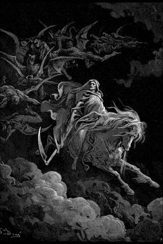Poster, Many Sizes Available; Death On A Pale Horse By Gustave Dore 1865 : Poster, Many Sizes Available; Death On A Pale Horse By Gustave Dore 1865 Gustave Dore, Arte Horror, Horror Art, Behold A Pale Horse, Arte Peculiar, Satanic Art, Engraving Illustration, Macabre Art, Occult Art