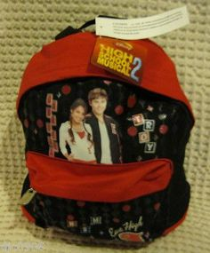 """Disney High School Musical 2 East High Red Black 10"""" Backpack- NEW withTags!"""