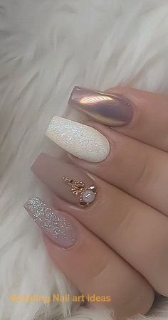 55 The Most Wonderful And Convenient Coffin Nail Designs 2019 - Page 42 of 56 Acrylic Nails Graduation Nails, Wedding Nails Design, Nail Design, Simple Wedding Nails, Glitter Wedding Nails, Nail Wedding, Wedding Nail Polish, Bridal Nail Art, Wedding Nails For Bride