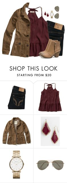 """Burgundy peplum cami, dark denim & camel jacket"" by steffiestaffie ❤ liked on Polyvore featuring Hollister Co., London Rebel, Kendra Scott, Marc by Marc Jacobs and SELECTED"