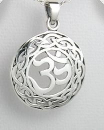 Large Round 925 Sterling Silver Um Om Aum Am Pendant Charm Irish Celtic Yoga NEW $27.95