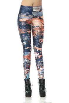 SEXY LADY GALAXY LEGGINGS PRINTED COSMIC SPACE PANTS TIE DYE TIGHTS NEW VINTAGE FASHION WORLD DOOMSDAY SCENARIOS DIGITAL PRINTING SEXY LEGGINGS FOR WOMEN