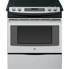 GE 30-in Smooth Surface 5-Element 4.4-cu ft Self-Cleaning with Steam Slide-In Convection Electric Range (Stainless Steel)