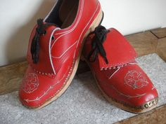 Vintage Walkleys Dance Clogs Red Leather Shoes by DaylightFrockery, £60.00