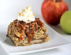 Crumb-topped Apple Pie Bars. YUM! Butter with a Side of Bread #recipe