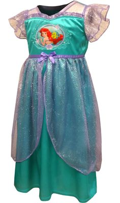WebUndies.com Princess Ariel Little Mermaid Satin Toddler Nightgown Toddler  Nightgown be77ca286