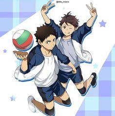 Gimnasium Oikawa is precious Oikawa X Iwaizumi, Iwaoi, Bokuaka, Kageyama, Haikyuu Nekoma, Haikyuu Manga, Haikyuu Fanart, Anime Manga, Anime Boys