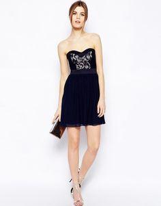 Elise Ryan | Elise Ryan Bandeau Skater Dress with Contrast Lace at ASOS