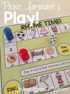 Help your students practice several literacy skills with these low-prep game… Rhyming Activities, Literacy Skills, Kindergarten Literacy, Literacy Activities, Learning Resources, Literacy Centers, Teaching Tools, Teaching Ideas, Reading Skills