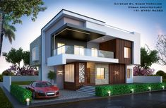 Modern bungalow exterior by, sagar morkhade (vdraw architecture) 879319 Style At Home, Modern Bungalow Exterior, Building Stairs, House Elevation, Modern House Design, Modern Architecture, Amazing Architecture, Exterior Design, New Homes