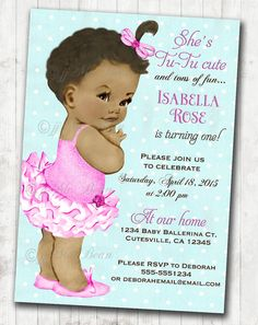 56 best babys birthday invitations images on pinterest baby ballerina birthday invitation for girl ballet party first birthday african american ballerina diy printable stopboris Image collections