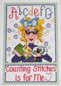 0 point de croix lady counting stitches is for me  - cross stitch