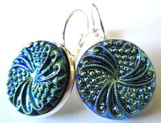 Vintage glass button earrings, iridescent blue glass buttons, silver leverbacks