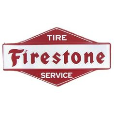 Open Road Brands Red & White Firestone Tire Service Embossed Die Cut Tin Sign | Shop Hobby Lobby