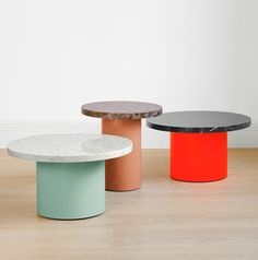 Philipp Mainzer; Enameled Steel and Marble 'Enoki' Occasional Tables for E15, 2012.