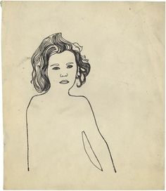 Andy Warholn.t. (Serious Girl), c. 1954 ink and graphite on paper