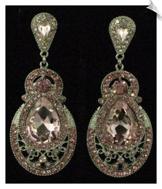 Vintage Style Silvertone Chandelier CLIP ON Earrings Accented with Pink Rhinestones $48 @ www.whimzgirlclipearrings.com