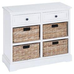 DecMode 2 Drawer 4 Basket Wood Chest